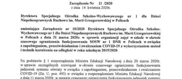 Zarządzenie Dyrektora – PILNE !